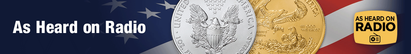 As Heard on Radio banner with 2021 American Gold Eagle and American Silver Eagle original reverse