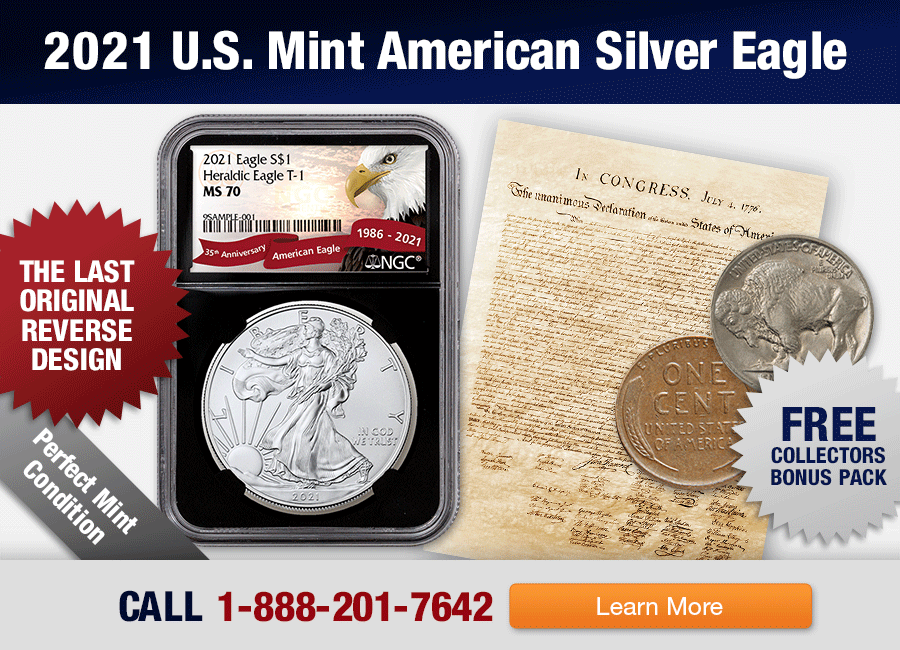 2021 American Silver Eagle MS70 and Collector's Bonus pack with Nickel and Penny