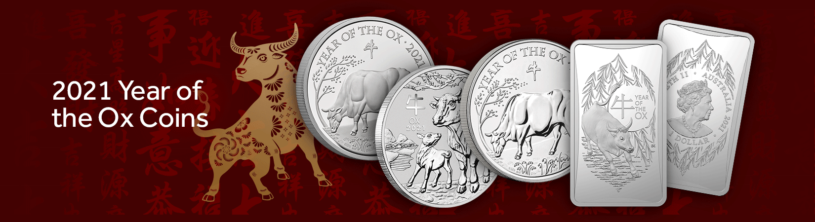 2021 Year of the Ox Coins header image featuring 2021 Year of the Ox Silver Coins from around the world with Japanese writing and a decorative ox in the background