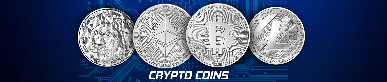 Raw crpyto coins in a row consisting of Bitcoin, Litecoin, Ethereum, and Dogecoin with a technical pattern background