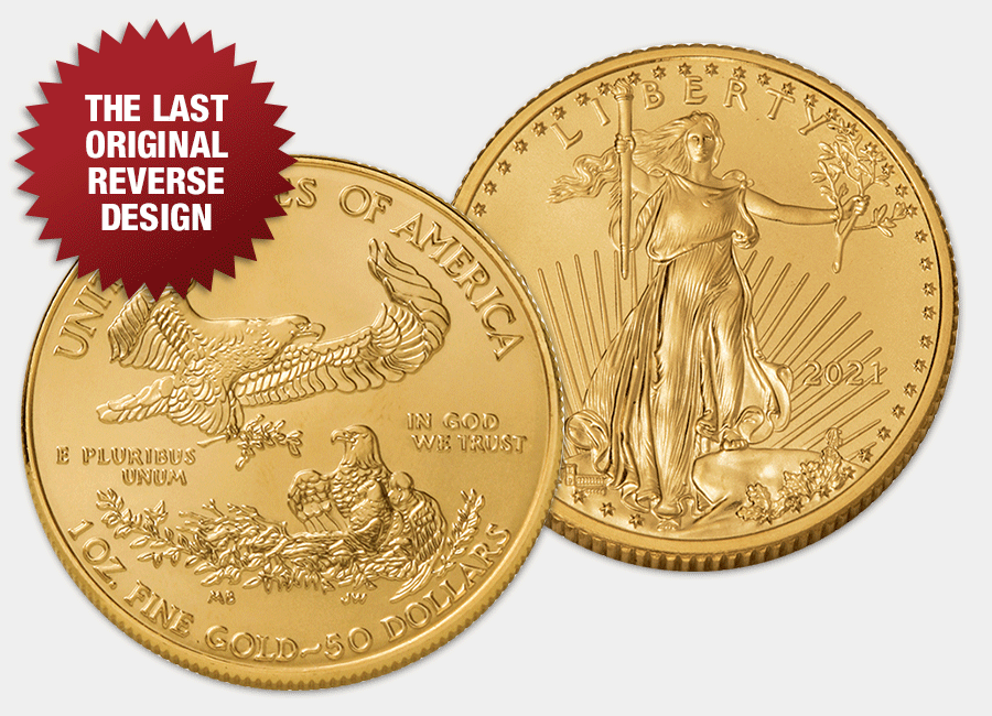 2021 American Gold Eagle obverse and original reverse