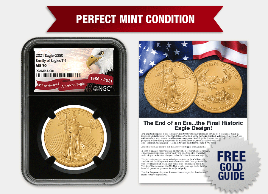 2021 American Gold Eagle MS70 and Gold Guide