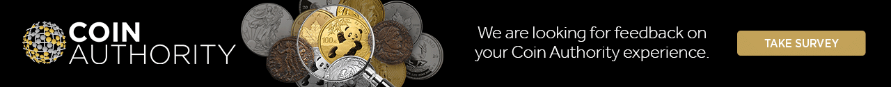 Coin Authority logo. We want to know how your Coin Authority experience went. Take the survey!