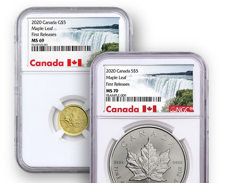 2020 $5 1/10-oz. Canada Gold Maple Leaf NGC MS69 First Releases and a 2020 $5 1-oz. Canada Silver Maple Leaf NGC MS70 First Releases