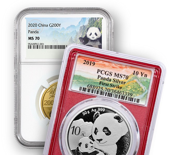 2020 200Yen China Gold Panda NGC MS70 and a 2019 10Yen China Silver Panda PCGS MS70 First Strike