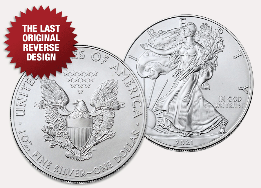 2021 American Silver Eagle obverse and original reverse