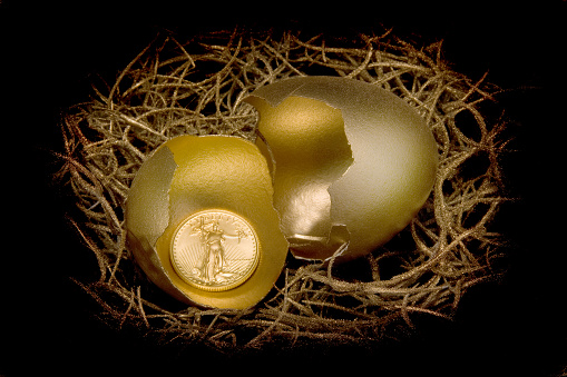 American Gold Eagle in a golden egg shell