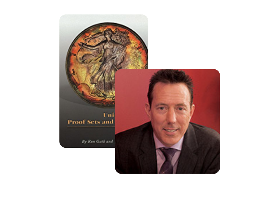 Headshot of Bill Gale and his book on United States Proof Sets and Mint Sets