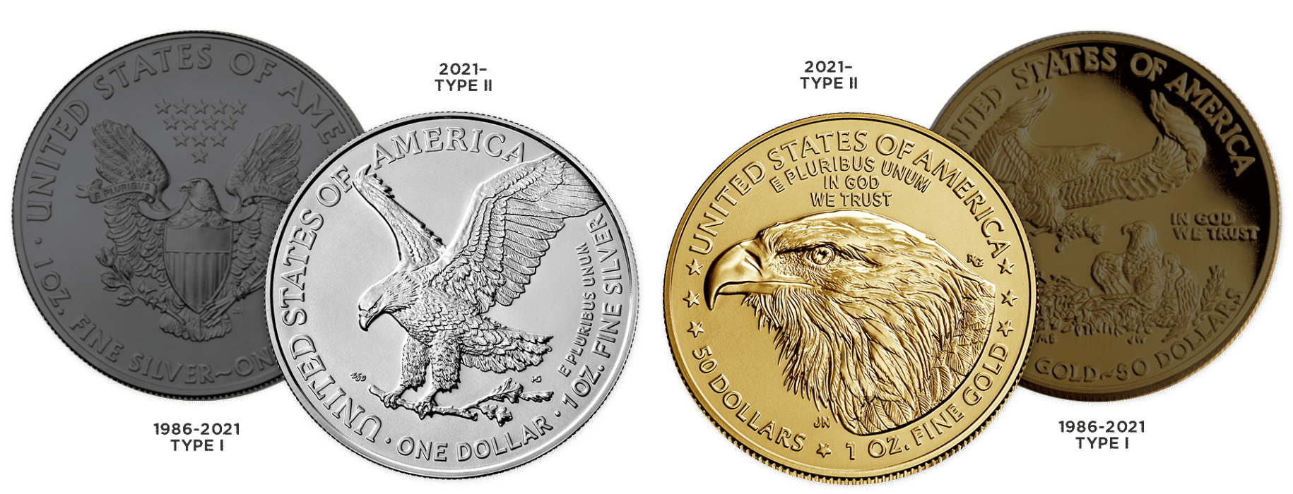 Type 1 and Type 2 American Gold and Silver Eagle reverse