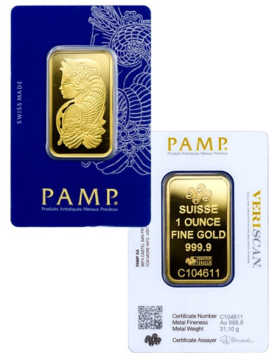 PAMP Veriscan Suisse one-ounce gold bar