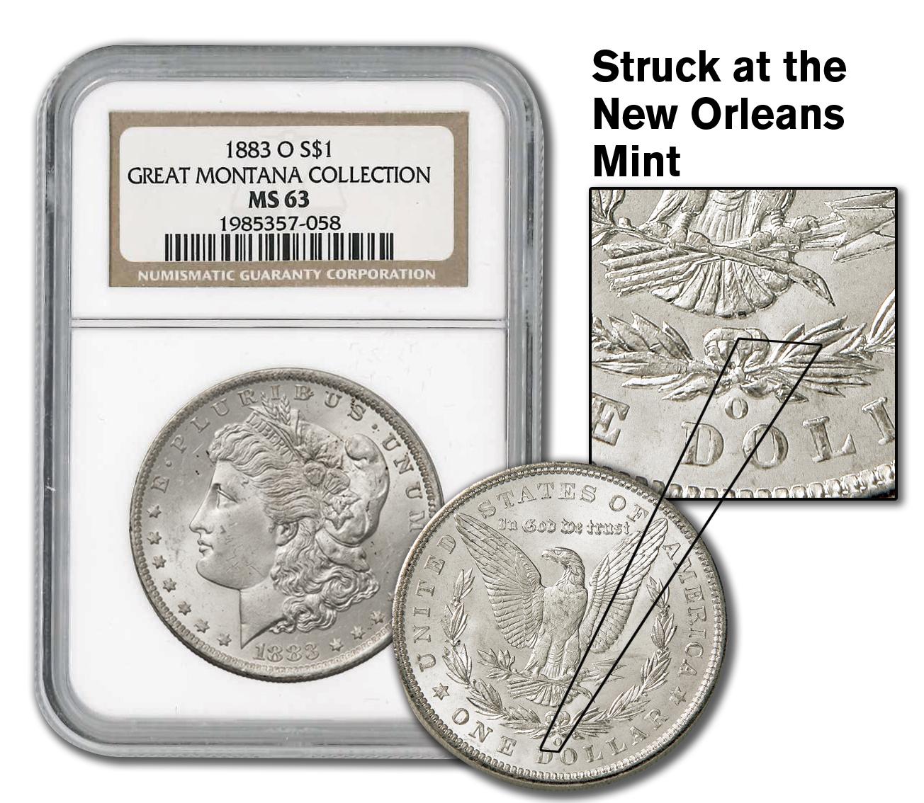 1883 O Morgan O mint mark
